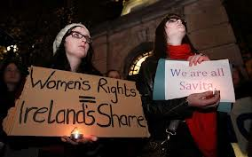 Anger and shame: Irish women protest following the death of Savita Halappanavar  Source: The Telegraph; Photo: AFP/Getty Images